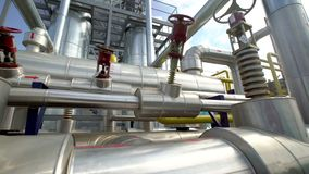 Factory distribution, and industrial processing of natural gas. Many pipelines and valves stock footage