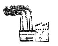Factory Doodle. A hand drawn vector doodle illustration of a factory building with black smoke coming out of its chimneys Stock Photography