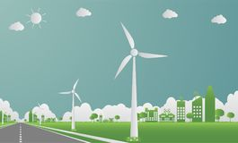 Factory ecology,Industry icon,Wind turbines with trees and sun Clean energy with road eco-friendly concept ideas.vector illustrati. Factory ecology,Industry icon royalty free illustration