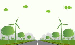 Factory ecology,Industry icon,Wind turbines with trees and sun Clean energy with road eco-friendly concept ideas.vector illustrati Royalty Free Stock Photos