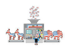 Factory elections in America. Uncle Sam says Democrats and Repub Stock Image