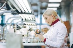 Factory electronics worker. Fix make female smile Royalty Free Stock Photo
