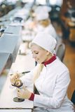 Factory electronics worker. Fix make female smile Royalty Free Stock Images