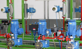 Factory equipment. Valves and equipment in modern factory interior Royalty Free Stock Image