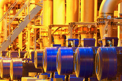 Factory equipment. Electric motors of pumps in shop of factory royalty free stock photography
