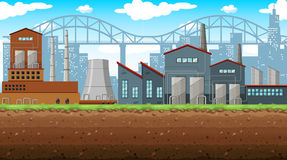 Factory on the field. Illustration Stock Photography