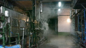 Factory filled with steam.dim light,Valve,Pipeline,Boiler. Gh2_01132 stock footage