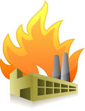 Factory on fire illustration design. Over a white background Stock Photo