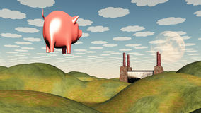 Factory and floating pig Royalty Free Stock Photography