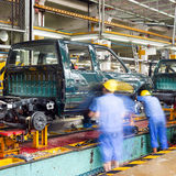 Factory floor, car production lines. Royalty Free Stock Photography