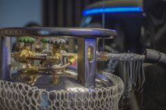 Factory floor Cryogenic cylinders, used in industrial processes. Dewar vessels royalty free stock photography