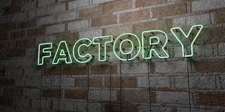 FACTORY - Glowing Neon Sign on stonework wall - 3D rendered royalty free stock illustration Stock Photos