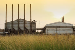 Factory and green meadow Stock Image