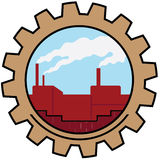 Factory icon. Factory with smoke in the sky Stock Photos