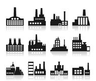 Factory icon. Set of icons on a theme the industry. A vector illustration Stock Photos