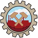Factory Icon Hammer. Factory Icon Cross Hammer Illustration stock illustration