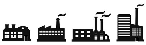 Factory Icon. Set Of Four Vector Contours Of Plants For Industrial Logos. Royalty Free Stock Images