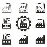 Factory icon set. Factory vector icons set. Black illustration isolated on white background for graphic and web design Royalty Free Illustration