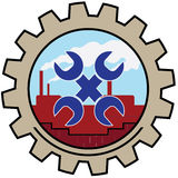 Factory icon spanner. Spanners on plant background factory icon vector illustration
