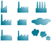 Factory icons Stock Photo