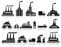 Factory icons (black & white) Royalty Free Stock Image