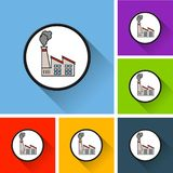 Factory icons with long shadow Royalty Free Stock Photos