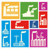Factory icons. Over colorful background vector illustration Royalty Free Stock Photography