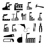 Factory icons. Over white background vector illustration Stock Photos