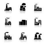 Factory icons with reflection Royalty Free Stock Image