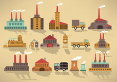 Factory icons (retro colors) Royalty Free Stock Photography