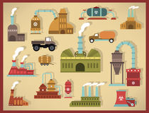 Factory icons (retro colors) Royalty Free Stock Images