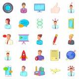 Factory icons set, cartoon style Stock Image