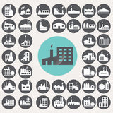 Factory icons set. Royalty Free Stock Image