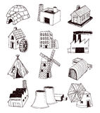 factory icons set. Vector illustration Stock Photos