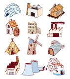 Factory icons set. Vector illustration Royalty Free Stock Photo