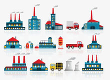 Factory icons. Vector illustration of colorful factory icons Royalty Free Stock Photography