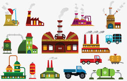 Factory icons. Vector illustration of simple colorful factory symbols Royalty Free Stock Photo