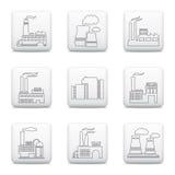 Factory icons, web buttons set Stock Photos