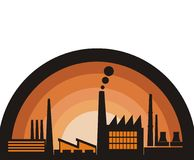 Factory  illustration. Industrial factory on a retro background Stock Photos