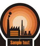 Factory  illustration. Industrial factory on a retro background Royalty Free Stock Photo