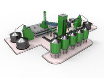 Factory illustration. 3D render illustration of a little factory. The composition is isolated on a white background with soft shadows Royalty Free Stock Photography