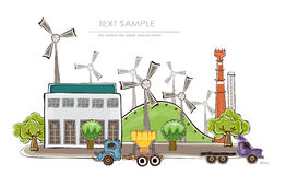 Factory illustration. Factory, environmental concept  Happy world collection Stock Photography