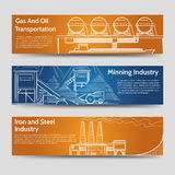 Factory industrial landscape horizontal banners Stock Photography