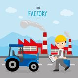 Factory Industry Boy Engineer Safety Car Road Cartoon Character Vector. Design Stock Photo