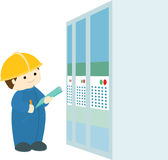 Factory inspection info graphic illustration Royalty Free Stock Photo