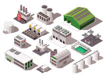 Factory Isometric Set. Colorful isometric set with various factory buildings isolated on white background 3d vector illustration stock illustration