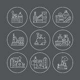 Factory Line Icons Royalty Free Stock Photos