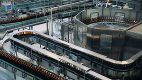 Factory line moves bottles at a brewery. stock video footage