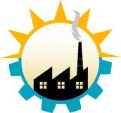 Factory logo. Illustration drawing of factory logo with isolated background Stock Photo