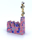 Factory made of american flags with dollar coins. Building factory made of american flags with dollar coins on white background Stock Photo